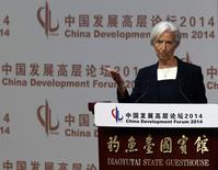 International Monetary Fund (IMF) Managing Director Christine Lagarde makes a speech during the China Development Forum in Beijing March 23, 2014. REUTERS/Kim Kyung-Hoon