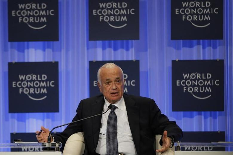 Arab League Secretary General Nabil Elaraby speaks during the ''Foreign Policy Outlook'' session at the World Economic Forum on the Middle East and North Africa 2013 at the King Hussein Convention Centre, at the Dead Sea May 25, 2013. REUTERS/Muhammad Hamed