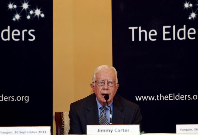 Former U.S. president Jimmy Carter speaks during the news conference in Yangon September 26, 2013. REUTERS/Soe Zeya Tun