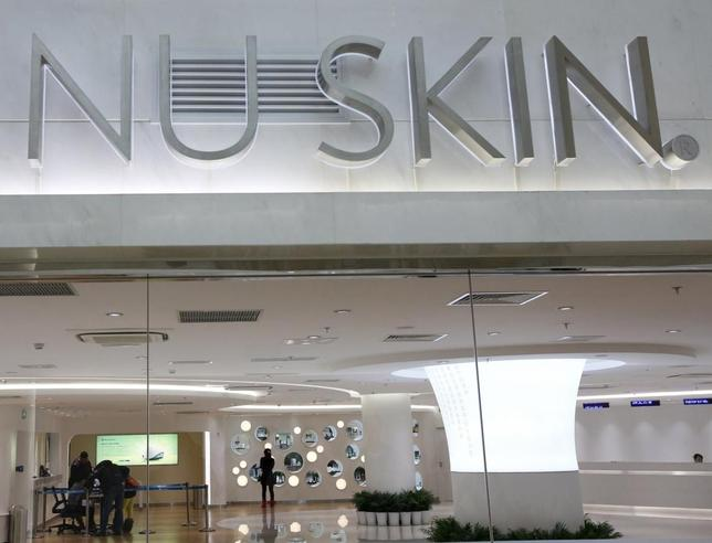 The logo of Nu Skin is seen at its ''experience centre'', where customers can sample and purchase the company's products, in Beijing January 21, 2014. REUTERS/Kim Kyung-Hoon