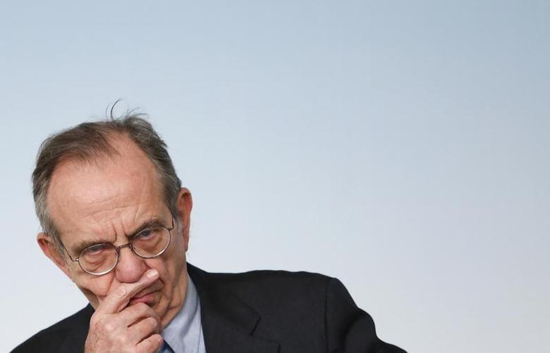 Italy's Finance Minister Pier Carlo Padoan reacts during a news conference at Chigi palace in Rome March 12, 2014. REUTERS/Remo Casilli