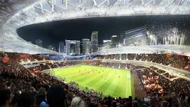 This image courtesy of Miami Beckham United shows an artist rendering of a proposed stadium for a Major League Soccer (MLS) team backed by retired English soccer star David Beckham of the group's preferred location for the arena seated in between Biscayne Bay and downtown Miami, Florida in this handout image released on March 24, 2014. REUTERS/360 Architecture and Arquitectonica/Handout via Reuters