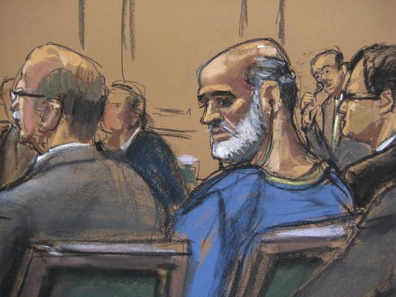 An artist sketch shows Suleiman Abu Ghaith, a son-in-law of Osama bin Laden and one of the highest-ranking al Qaeda figures to be brought to the United States to face a civilian trial, at a hearing in a Manhattan federal court in New York April 8, 2013. REUTERS/Jane Rosenberg