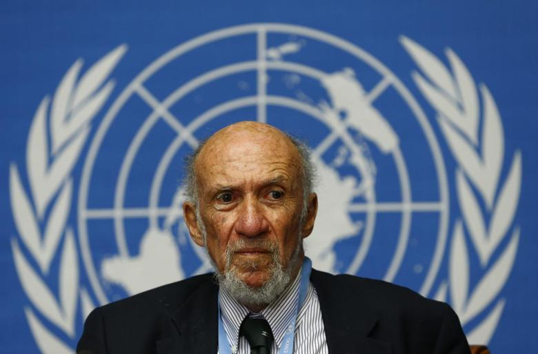 United Nations Special Rapporteur on occupied Palestine, Richard Falk addresses a news conference at the U.N. European headquarters in Geneva March 21, 2014. REUTERS/Denis Balibouse