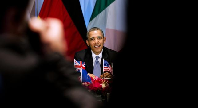 U.S. President Barack Obama participates in a G7 leaders meeting during the Nuclear Security Summit in The Hague March 24, 2014. REUTERS/Jerry Lampen/Pool