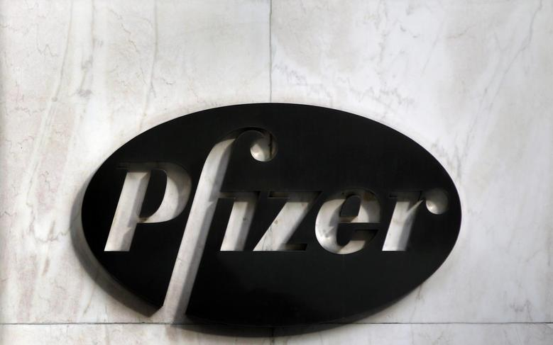 The Pfizer logo is seen outside their world headquarters in New York November 5, 2013. REUTERS/Adam Hunger