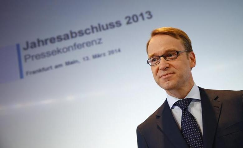 Jens Weidmann, President of Germany's federal reserve bank Bundesbank waits for the start of the bank's annual news conference in Frankfurt, March 13 2014. REUTERS/Kai Pfaffenbach