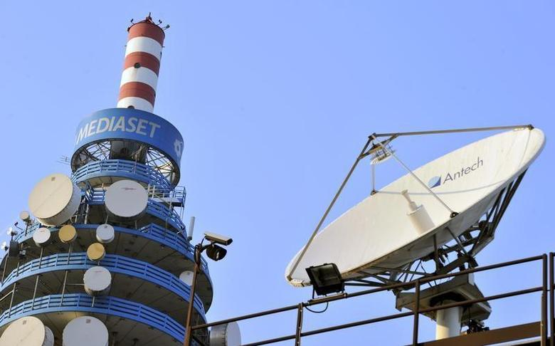 The Mediaset tower is seen in Milan February 25, 2011. REUTERS/Paolo Bona