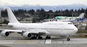 Boeing 747-8 Intercontinental jetliner, tail number A7-HHE which is the first-delivery VIP-configured aircraft for an undisclosed customer, rolls out for takeoff from Paine Field in Everett, Washington on February 28, 2012. REUTERS/Anthony Bolante