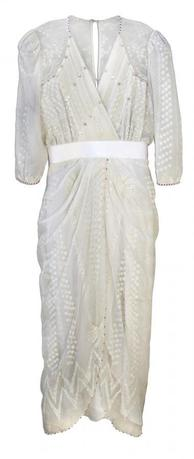 A white chiffon cocktail dress worn by Princess Diana, handmade by English fashion designer Zandra Rhodes, is shown in this publicity photo released to Reuters on March 25, 2014. REUTERS/Nate D. Sanders Auctions