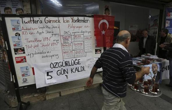 A board shows alternative ways to access Twitter, is placed at an election campaign office of the main opposition Republican's People's Party (CHP) in Istanbul March 25, 2014. REUTERS/Murad Sezer