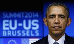 Президент США Барак Обама во время саммита ЕС-США в Брюсселе 26 марта 2014 года. Евросоюз потребует от президента США Барака Обамы снизить зависимость Европы от российских энергоносителей с помощью экспорта американского природного газа в период охлаждения отношений с Москвой из-за аннексии Крыма. REUTERS/Yves Herman