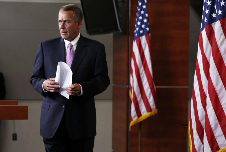 U.S. Speaker of the House John Boehner walks out during his weekly news conference on Capitol Hill in Washington, March 26, 2014. REUTERS/Larry Downing
