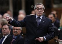Canada's President of the Treasury Board Tony Clement speaks during Question Period in the House of Commons on Parliament Hill in Ottawa February 6, 2014. REUTERS/Chris Wattie