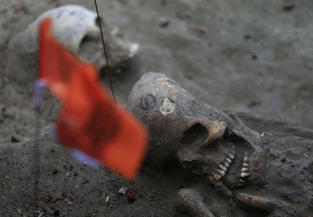 Marked human skulls are seen at a construction site in the former war zone in Mannar, about 327 km (203 miles) from the capital Colombo, January 16, 2014. REUTERS/Dinuka Liyanawatte