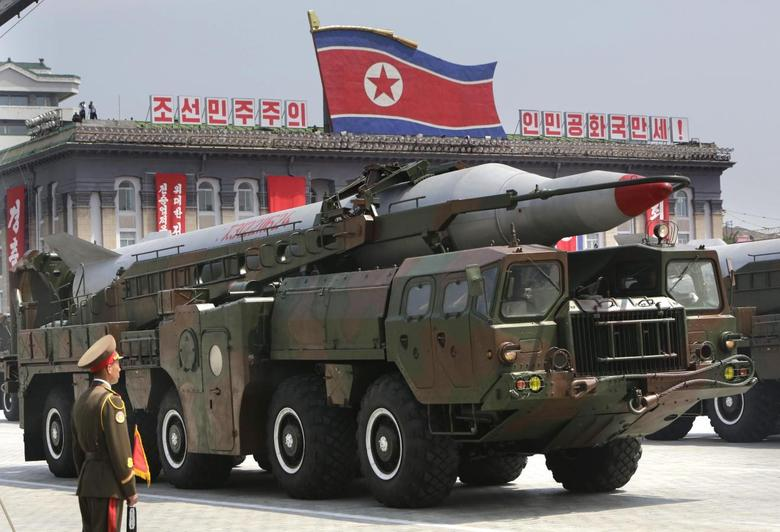A missile is carried by a military vehicle during a parade to commemorate the 60th anniversary of the signing of a truce in the 1950-1953 Korean War, at Kim Il-sung Square in Pyongyang July 27, 2013. REUTERS/Jason Lee
