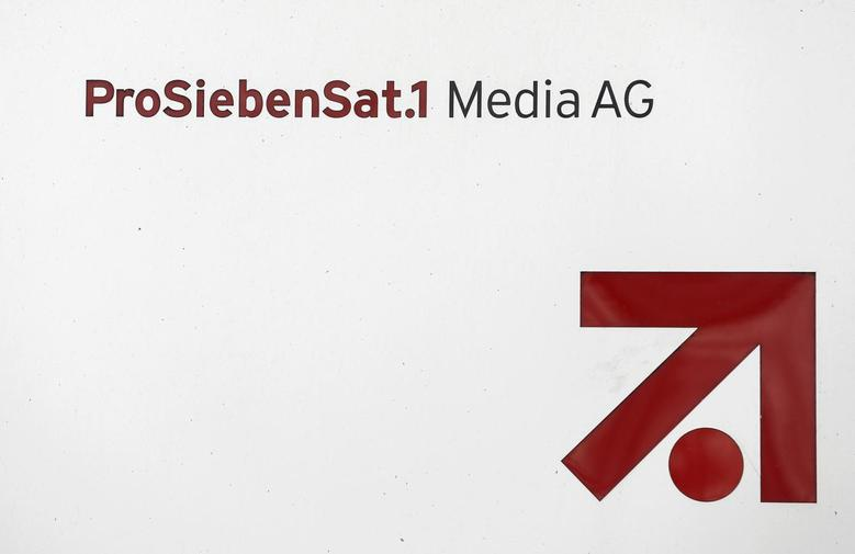 The logo of Germany's biggest commercial broadcaster ProSiebenSat.1 Media AG is pictured in front of the headquarters in Unterfoehring, near Munich February 26, 2014. REUTERS/Michaela Rehle