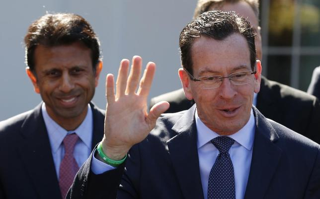 Connecticut Governor Dannel Malloy (R) offers a rebuttal regarding remarks made by Louisiana Governor Bobby Jindal following a National Governors Association event hosted by U.S. President Barack Obama at the White House in Washington February 24, 2014. REUTERS/Kevin Lamarque