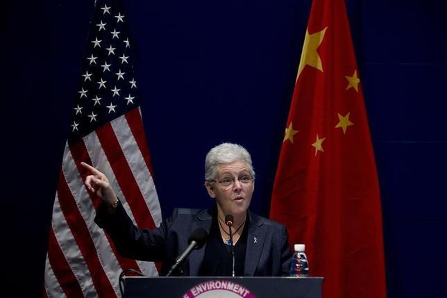 U.S. Environment Protection Agency Administrator Gina McCarthy gestures as she speaks during the Tsinghua Environmental Forum at the Tsinghua University School of Environment in Beijing, December 10, 2013. REUTERS/Andy Wong/Pool