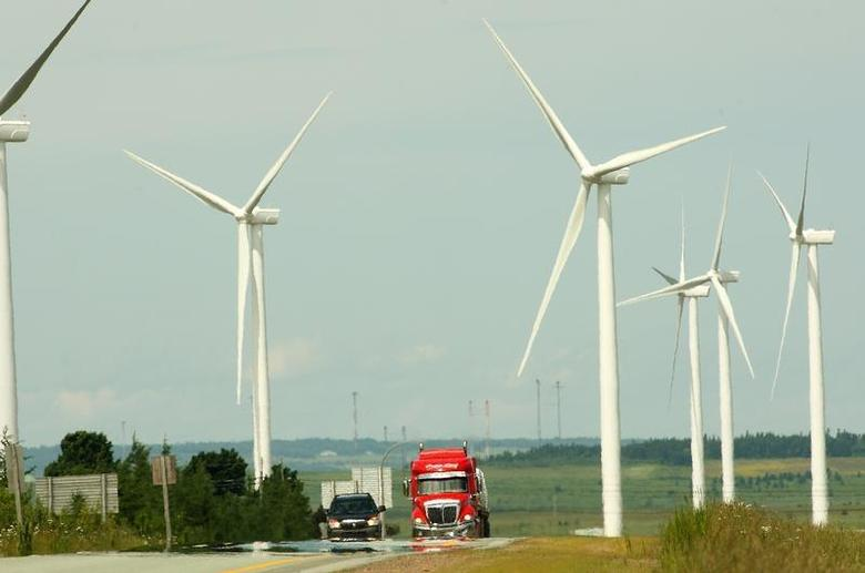 Fifteen new wind turbines were officially opened by Sprott Power Corporation in Amherst, Nova Scotia, June 25, 2012. REUTERS/Paul Darrow