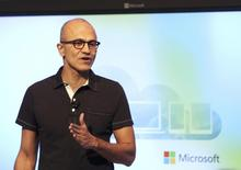 Microsoft CEO Satya Nadella speaks at a Microsoft event in San Francisco, California March 27, 2014. REUTERS/Robert Galbraith