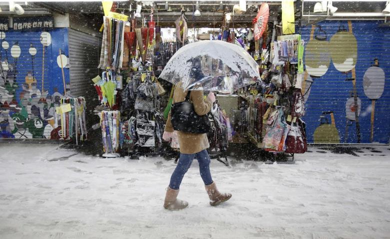 A pedestrian with an umbrella walks near a souvenir shop during a heavy snowfall in Asakusa district in Tokyo February 8, 2014. REUTERS/Yuya Shino