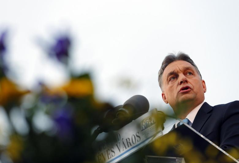 Hungarian Prime Minister Viktor Orban delivers a speech during the opening ceremony of a swimming pool in Cegled March18, 2014. REUTERS/Laszlo Balogh