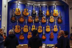 Vintage guitars are seen on display during a preview before their auction in New York March 20, 2014. REUTERS/Shannon Stapleton