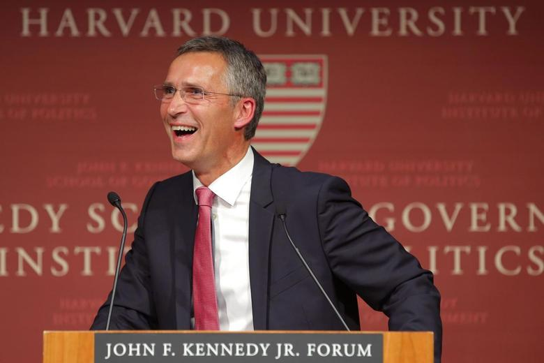 Norway's Prime Minister Jens Stoltenberg laughs while listening to a question from the audience following his speech at the Kennedy School of Government at Harvard University in Cambridge, Massachusetts September 25, 2013. REUTERS/Brian Snyder
