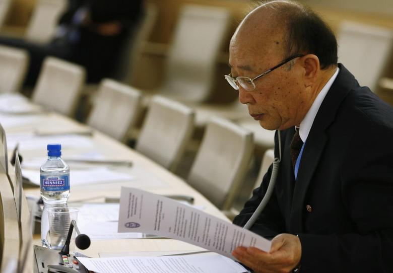 North Korea's ambassador to the United Nations So Se Pyong reads his notes before a session of the Human Rights Council on the report of the Commission of Inquiry on Human Rights in North Korea at the United Nations in Geneva March 17, 2014. REUTERS/Denis Balibouse