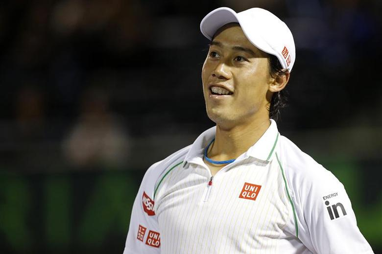 Mar 26, 2014; Miami, FL, USA; Kei Nishikori reacts against Roger Federer (not pictured) on day ten of the Sony Open at Crandon Tennis Center. Geoff Burke-USA TODAY Sports