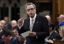 Canada's Finance Minister Joe Oliver speaks during Question Period in the House of Commons on Parliament Hill in Ottawa March 27, 2014. REUTERS/Chris Wattie