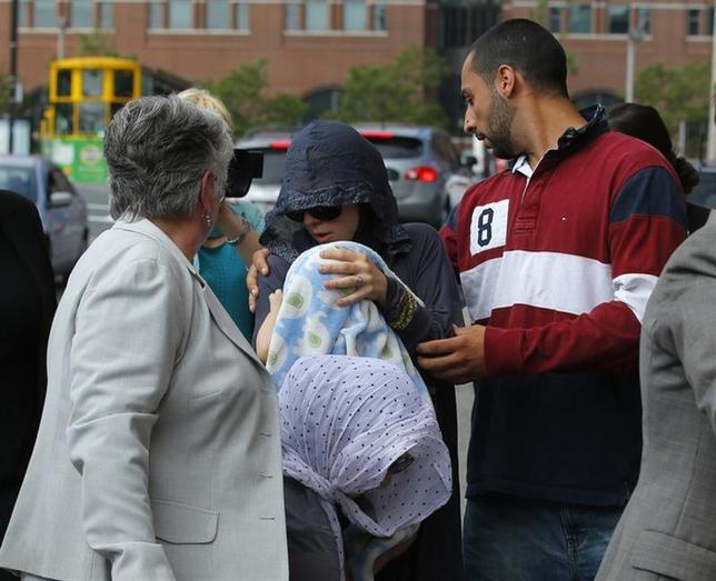 Family members of Tamerlan and Dzhokhar Tsarnaev leave the federal courthouse following the arraignment of accused Boston Marathon bomber Dzhokhar Tsarnaev in Boston, Massachusetts July 10, 2013 file photo. REUTERS/Brian Snyder