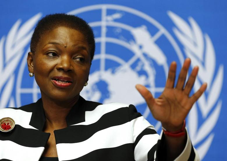 U.N. humanitarian chief Valerie Amos addresses a news conference on the situation in Central African Republic at the United Nations in Geneva March 7, 2014. REUTERS/Denis Balibouse