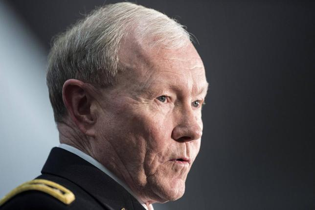 Chairman of the Join Chief of Staff Army General Martin Dempsey speaks during a retirement ceremony at the National Security Agency in Fort Meade, Maryland March 28, 2014. REUTERS/Brendan Smialowski/Pool