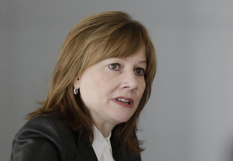 General Motors Co's new chief executive Mary Barra addresses the media during a roundtable meeting with journalists in Detroit, Michigan January 23, 2014 file photo. REUTERS/Carlos Osorio/Pool