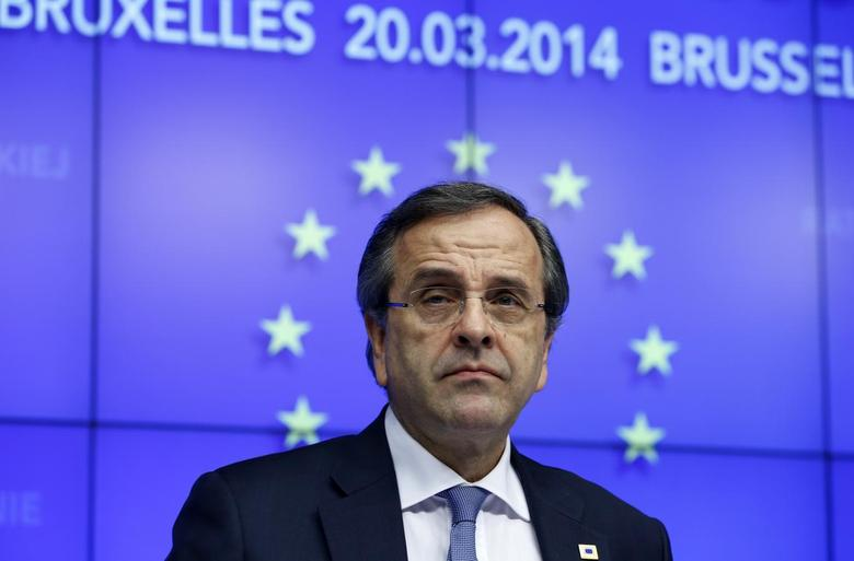 Greece's Prime Minister Antonis Samaras takes part in a news conference after a Tripartite Social Summit ahead of a European Union leaders summit in Brussels March 20, 2014 file photo. REUTERS/Yves Herman