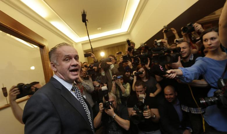 Slovakia's presidential candidate Andrej Kiska reacts as he arrives at the party election headquarters to observe the ongoing election results in Bratislava March 29, 2014. REUTERS/David W Cerny
