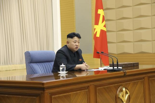North Korea leader Kim Jong Un presides over a meeting of the Central Military Commission of the Workers' Party of Korea in this undated photo released by North Korea's Korean Central News Agency (KCNA) in Pyongyang March 17, 2014. REUTERS/KCNA