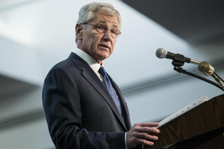 U.S. Secretary of Defense Chuck Hagel speaks during a retirement ceremony at the National Security Agency in Fort Meade, Maryland March 28, 2014. REUTERS/Brendan Smialowski/Pool