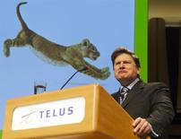 Telus Corp Chief Executive Officer Darren Entwistle speaks at their annual shareholders meeting in Toronto, May 5, 2011. REUTERS/Mark Blinch