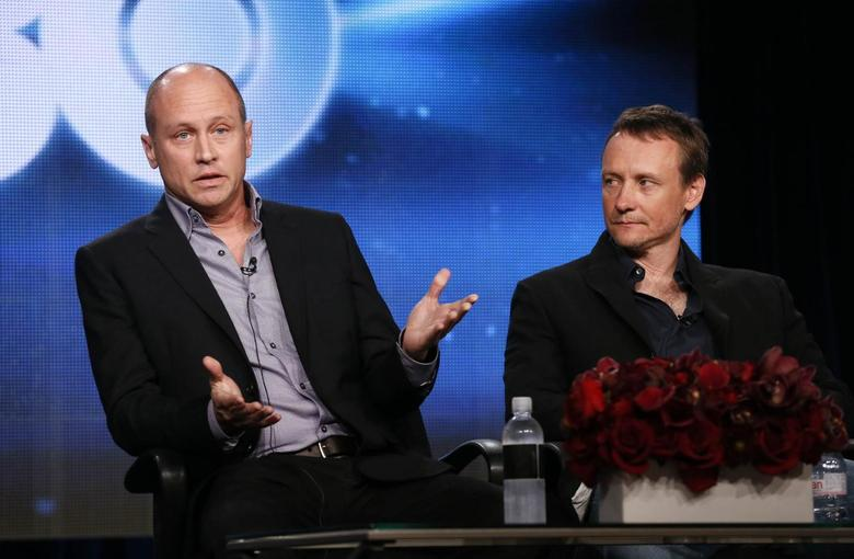 Creator, executive producer, director and writer Mike Judge and executive producer, director, writer Alec Berg talk about HBO's ''Silicon Valley'' during the Winter 2014 TCA presentations in Pasadena, California, January 9, 2014. REUTERS/Lucy Nicholson