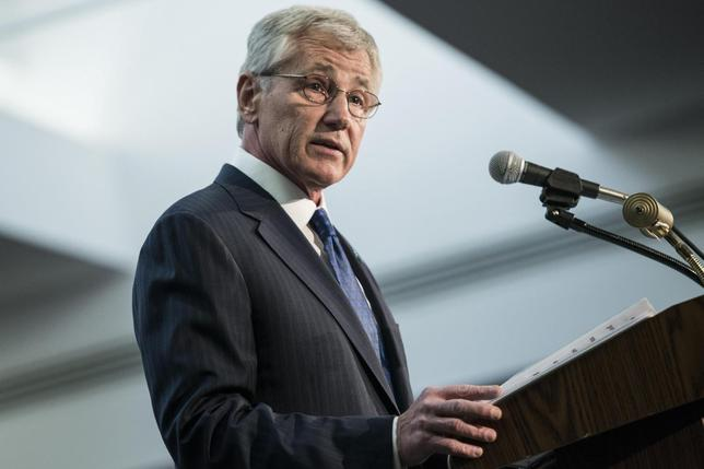 U.S. Secretary of Defense Chuck Hagel speaks during a retirement ceremony at the National Security Agency in Fort Meade, Maryland March 28, 2014. REUTERS/Brendan Smialowski