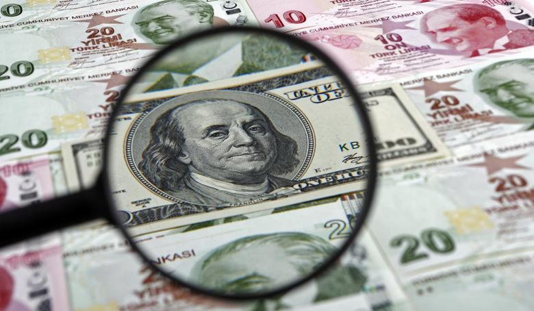 A U.S. 100 dollar banknote is seen through a magnifying lens on top of 10 and 20 lira banknotes in this illustration picture taken in Istanbul January 28, 2014. REUTERS/Murad Sezer