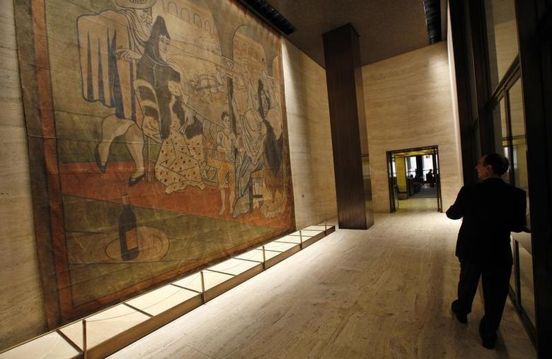 A 19-by-20-foot theater curtain ''Le Tricorne'' painted by Pablo Picasso hangs at the Four Seasons restaurant in New York City, April 1, 2014. REUTERS/Mike Segar