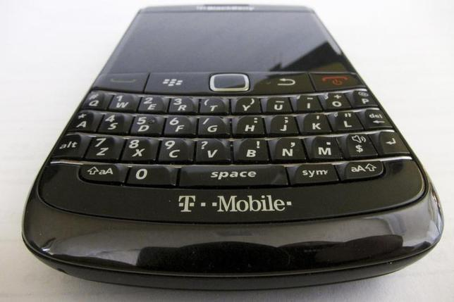 A T-Mobile branded BlackBerry smart phone is pictured in Hoboken, New Jersey, March 20, 2011. REUTERS/Gary Hershorn
