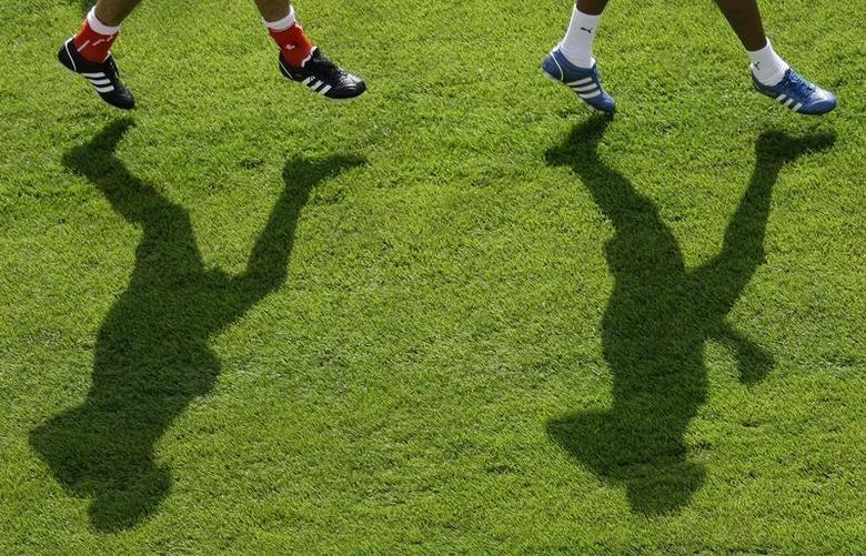 Players during a training session in a file photo. REUTERS/Stefan Wermuth