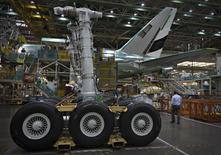 The undercarriage for a Boeing 777 awaits installation at their assembly operations in Everett, Washington, October 18, 2012. REUTERS/Andy Clark