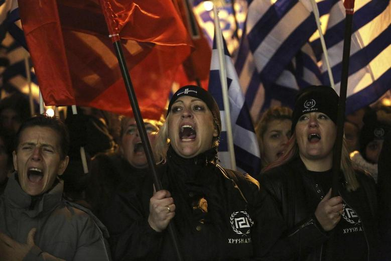 Supporters of the extreme-right Golden Dawn party shout slogans during a rally in Athens February 1, 2014. REUTERS/Giorgos Moutafis