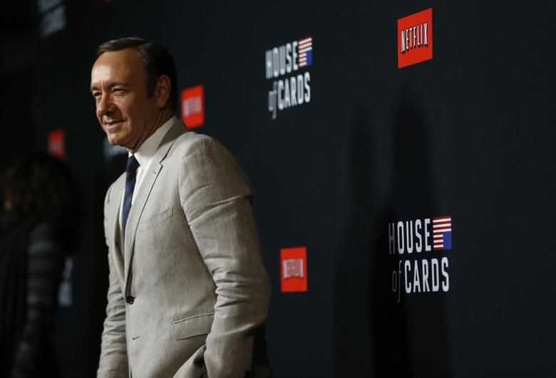 Cast member Kevin Spacey poses at the premiere for the second season of the television series ''House of Cards'' at the Directors Guild of America in Los Angeles, California February 13, 2014. REUTERS/Mario Anzuoni